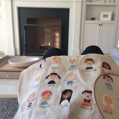 jessie randall's cross stitch family tree pillow