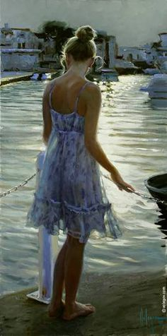 """MOTHER-OF-PEARL SUNSET"", 100x50 cm, oil on canvas, artist Vladimir Volegov"