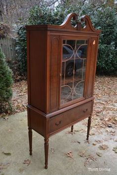 """Girl finds china cabinet at the thrift store. Girl uses a new paint called RECLAIM paint to do a china cabinet makeover. Girl absolutely loves the """"AFTER""""!"""