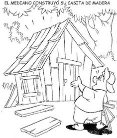 PRIMERO, PASITO A PASO: LOS TRES CERDITOS Pig Crafts, Crafts For Kids, Coloring Pages For Kids, Adult Coloring, Three Little Pigs Story, Petite Section, Teaching Kindergarten, Stories For Kids, Colorful Pictures
