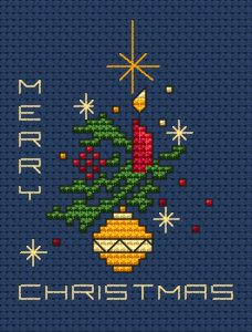 """Beautiful Christmas card designed for dark blue fabric depicting a red candle,yellow decoration,stars and the text:""""Merry Christmas""""."""