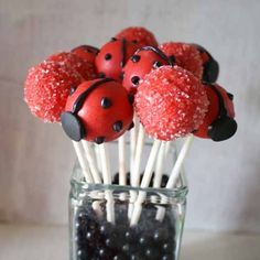 How to Make Ladybug Cake Pops - Rose BakesYou can find Ladybug cakes and more on our website.How to Make Ladybug Cake Pops - Rose Bakes Ladybug Cake Pops, Ladybug Cakes, Baby Ladybug, Ladybug Party, Ladybug Snacks, Wilton Candy Melts, Ben E Holly, Paletas Chocolate, Garden Party Cakes