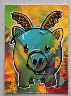 ACEO Original Acrylic Pen Painting Abstract Animal Farm Angel Pig Sue Flask #Miniature