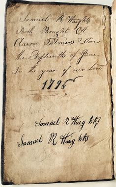1795 The Monitor. Book Of Samuel Haight Bought At Aaron Palmer's Store June 1796