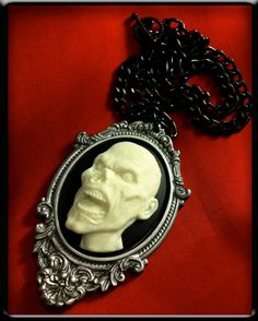 Zombie Necklace  Zombie Cameo Necklace in Silver by horribell, $13.50