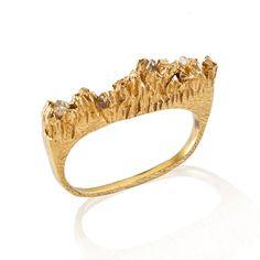 UNDER EARTH Texture 2 fingers gold ring | NIZA HUANG - Bottica.com