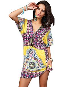 Barry Womens Sexy Vintage Swimming Sundress Beach Dress This is a must have for your next tropical vacation. Enjoy your holiday with the hot dress! Swimsuits For Big Bust, Swim Cover Up Dress, Swimsuit Cover, Boho Floral Dress, Floral Tunic, Casual Party Dresses, Bikini Dress, Hippie Dresses, Beach Dresses