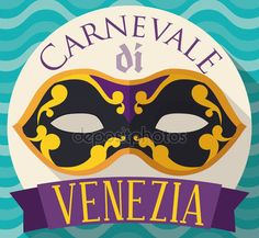 Button with Colombina Mask for Venice Carnival in Flat Style