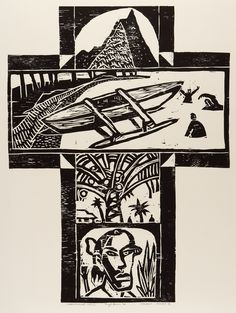 Nigel Brown Rarotongan Cross (1994) Woodcut  900 x 700mm e-size, form, colour, shape, texture p- unity, rhythm, balance, repitition, variety