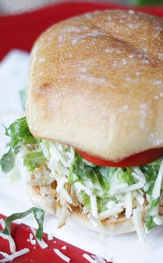 Easy Chicken Caesar Salad Sandwiches made from the crock pot! Recipe via