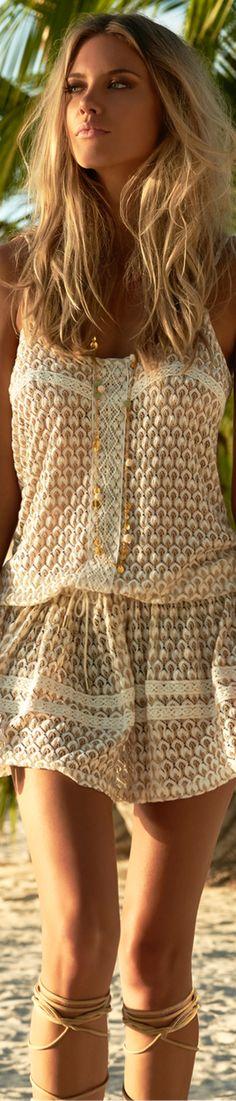 MELISSA ODABASH KHLOE OVER-THE-SHOULDER SHORT DRESS GOLD KNIT Bohemian Girls, Bohemian Style, Boho Chic, Melissa Odabash, Boho Fashion, Fashion Beauty, Fashion Outfits, Fashion Trends, Peinados Pin Up