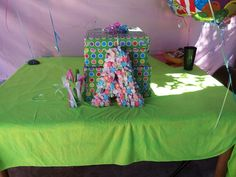 styrofoam letter with taffy candy theme party gift table centerpiece