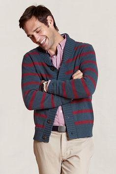 Land's End Men's Striped Shawl-Collar Cardigan $19.97