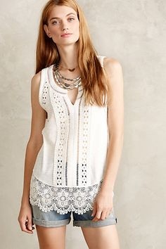 Ladder Lace Tank - anthropologie.com.  Could very easily work something like this up with the Linie yarn...