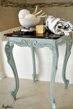 Little french table in Annie Sloan Chalk Paint Duck Egg Blue topped with clear…