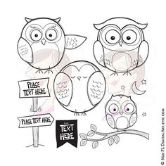 Owl Doodle Clipart Digistamps Signage Bunting Flag Tree Branch Moon Stars Night Owls DIY Digital Cute Sign Stamps Hand Drawn Clip Art 10614