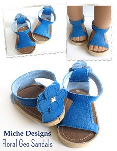 Geo sandals for 18 inch doll - new pattern just released by Miche Designs