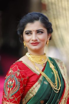 For my grand Maharashtrian ( Marathi ) wedding, I the bride was in green nauvari red blouse and gold jewellery Marathi Saree, Marathi Bride, Marathi Wedding, Saree Wedding, Indian Bridal Lehenga, Pakistani Bridal Wear, Saree Hairstyles, Bride Hairstyles, Accessorize Fashion