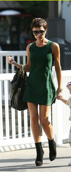 lil green dress and Christian louboutin boots