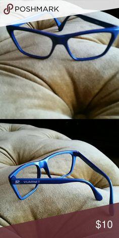 Vuarnet Blue glasses frames By designer Vuarnet glasses frames in square shape.  Made in  France, new.  Very cool bright-ish blue.  Very unique. Vuarnet Accessories Glasses
