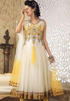 Off White Net Anarkali Churidar Kameez Online Shopping: KDU176