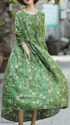 31e682a03ce 2018 green print natural linen dress Baggy Dresses