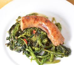 Rope Sausage With Roasted Rapini. New Music From Wild Wild Horses. Broccoli Rabe Recipe, Sausage Recipes For Dinner, One Pan Dinner, Wild Horses, Seaweed Salad, The Dish, Roast, Pork, Stuffed Peppers