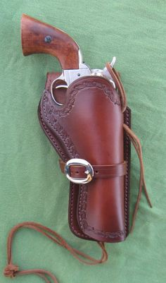Western Leather Holster 45 cal Colt by TimberWolfLeather. Colt 45, Gun Holster, Leather Holster, Rifles, Western Holsters, Firearms, Shotguns, Cowboy Action Shooting, Cool Guns