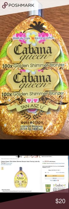 Cabana Queen100x Golden SOMEONE BID ON eBay so if you want this look for sublimesale there & bid on it. Right now it is $1.25. The shipping weight is 15.2 oz & my shipping scale says this weighs 13.5 oz so I think there is 10.8 ounces left in the bottle. It feels pretty full. The bottle is pretty much in mint condition, but label on the back is a bit worn. I guess the bottle is also tightly covered w plastic & I noticed there is a horizontal slit in the front but other than that it looks…