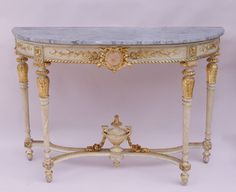 Maire-Antoinette model Louis XVI style half moon console circa 1900 by Jean-Luc Ferrand #marieantoinette #marie-antoinettefurniture #louisxvi #marble #gitlwood #whitelacquer @whitefurniture #flutedleg