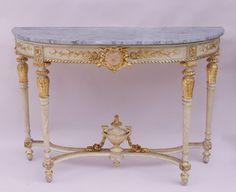 Maire-Antoinette model Louis XVI style half moon console circa 1900 by Jean-Luc Ferrand #marieantoinette #marie-antoinettefurniture #louisxvi #marble #gitlwood #whitelacquer @whitefurniture #flutedleg
