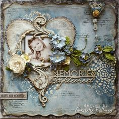 Mixed Media Scrapbook page by Gabrielle Pollacco made for The Scrapbook Diaries using Maja Design Papers, Dusty Attic Chipboard and a variety of mixed media products. Limited kit & VIDEO tutorial available here ~~~  http://gabriellepollacco.blogspot.ca/2014/03/new-kit-video-tutorial-at-scrapbook.html