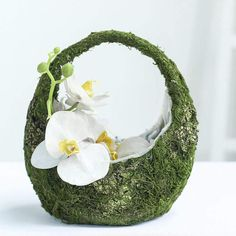 Efavormart Preserved Moss Planter Basket with Handle Moss Covered Planters with Inner Lining Green Wedding Decorations, Christmas Party Decorations, Table Decorations, Rustic Flower Girls, Rustic Flowers, Moss Decor, Decorating Supplies, Diy Decorating, Floral Tablecloth