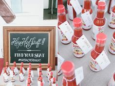 Hey hottie your over here-my saying  Hot stuff escort cards...cute idea.