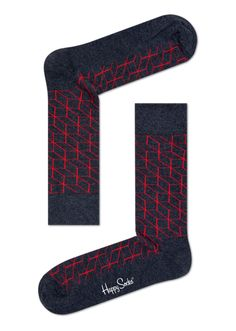 Bright red outlines of rectangles and squares make these gray optic socks a whole lot more interesting. Made from high-quality combed cotton, these socks offer a timeless style that can work with any outfit to make a standout fashion statement. These comfy, cozy and fitted socks are available for men and women.