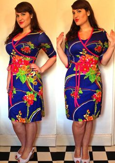 Love this tropical wrap dress, complete with matching slip so you don't overexpose your cleavage! For my review of lots more gorgeous Aliya.J vintage style outfits, take a look here - http://roxyvintagestyle.com/2013/07/01/introducing-aliya-j/