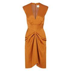 Reiss Olga Sleeveless Low V Gathered Dress ($340) ❤ liked on Polyvore