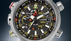 Say hello to the Citizen Promaster Altichron, the ultimate adventure-seeking timepiece with an altimeter measuring a range of -1000 to 32,000 feet. Lightweight titanium, a black dial with yellow accents and a black polyurethane strap ensures comfort and durability for those looking to push themselves beyond their limits and seek out new adventures.  To order, call us at 888-527-4473 and mention model number BN5030-06E.