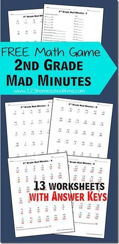 Free Math Games: 2nd Grade Mad Minutes-I remember these!