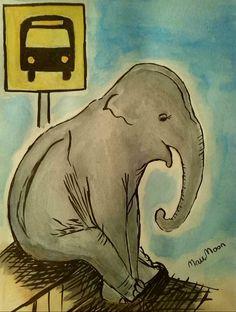 Elefantes que esperan el bus- Acuarela