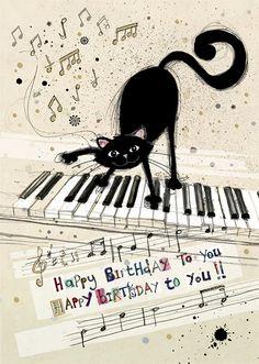 Bug Art H014 Cat Keyboard greetings card