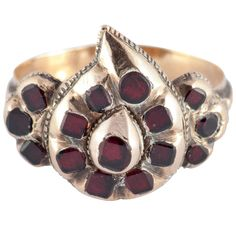 Antique Spanish Garnet Gold Heart Ring | From a unique collection of vintage more rings at https://www.1stdibs.com/jewelry/rings/more-rings/
