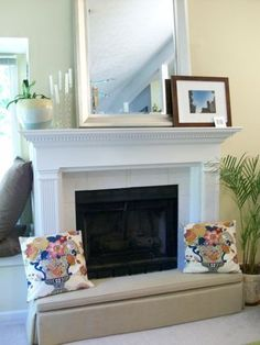 Fabric panels to baby proof your bookshelf by pattern - Ideas to cover fireplace opening ...