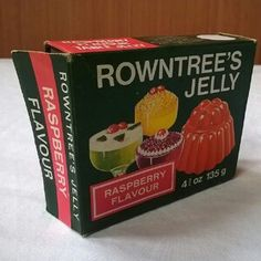 Rowntree's Jelly , 1970 's packet - the basis of lots of trifles like chocolate swiss roll, lime jelly and chocolate blancmange Old Sweets, Vintage Sweets, Retro Sweets, Retro Food, Vintage Food, 1970s Childhood, My Childhood Memories, Sweet Memories, Retro Recipes