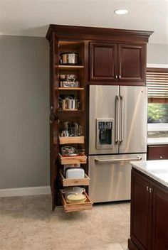 In addition to the bedroom, the kitchen becomes the next important room in every home. Here are tips on how to Small Kitchen Cabinet Organization Kitchen Cabinet Organization, Diy Kitchen Cabinets, Kitchen Redo, New Kitchen, Organization Ideas, Cabinet Ideas, Tall Cabinets, Kitchen Organizers, Cabinet Design