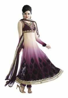 Fabdeal Women's Indian Designer Wear Embroidered Anarkali Suit Cream & Light Purple by Fabdeal, http://www.amazon.ca/dp/B00GAPYAGY/ref=cm_sw_r_pi_dp_fROptb0PWQF8V