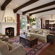 montecito spanish colonial - living room, love the arch that separates dining and living rooms