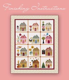 """shabbyfabrics.com offers free patterns on their website.""""Country Cottages"""" Block-of-the-Month quilt is cleverly decorated to represent each month. July block is so cute!"""