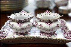 Royal Copenhagen royal purple (ruby red) sugar bowls