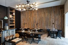 With interiors by local firm HolmbäckNordentoft, this spot in the residential Frederiksberg neighborhood dishes out organic Nordic food by chefs Jesper Kirketerp and Rasmus Kliim against a perfectly Scandinavian backdrop. Earnest in its appearance, the small restaurant features reclaimed-wood-paneled walls and Dinesen fir floors, creating a muted palette punctuated by black slab chairs by Tom Dixon. Julius Thomsens Gade 12; restaurantradio.dk